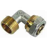 Угол с наружной резьбой для металлопластиковой трубы 16*16 усиленный Forte