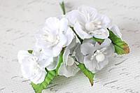 Цветы магнолии для скрапбукинга диаметр 4 см, 6 шт/уп, белого цвета, фото 1