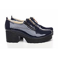 Лаковые туфли синего цвета на толском каблуке , фото 1
