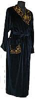Халат  велюровый длинный с вышитым воротником синий