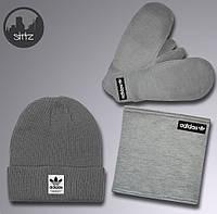 Мужской комплект шапка + бафф + перчатки Adidas серого цвета (люкс копия) 682b9bab0a39d