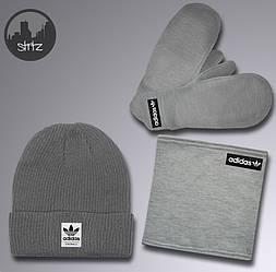 Чоловічий комплект шапка + бафф + рукавички Adidas сірого кольору (люкс копія)
