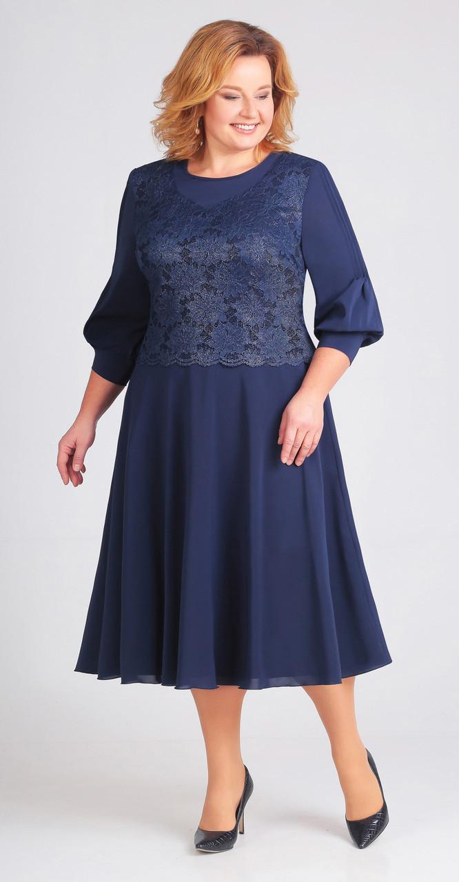 Платье Асолия-2383 белорусский трикотаж, темно-синий, 58
