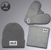 Мужской комплект шапка + бафф + перчатки Jack Wolfskin серого цвета (люкс  копия) 49e3ff6ac6460
