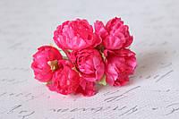 Декоративные пионы 6 шт., 3 см. диаметр малинового цвета, фото 1