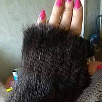 Норковые рукавицы, варежки норковые. Меховые рукавички из меха норки коричневые, фото 1