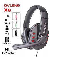 Игровые наушники с микрофоном 3,5 мм. геймерские для компьютера игр ПК красный Ovleng X6