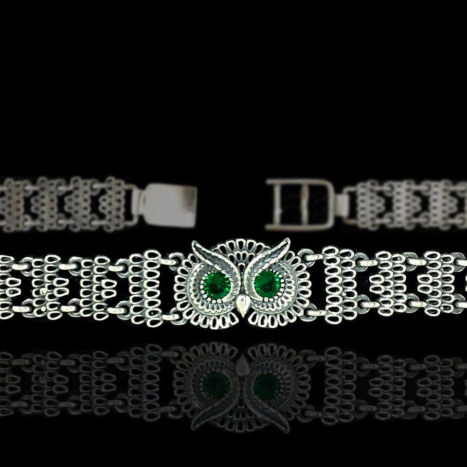 Серебряный женский браслет Сова с фианитами, 185мм