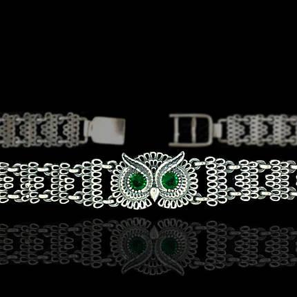 Серебряный женский браслет Сова с фианитами, 185мм, фото 2