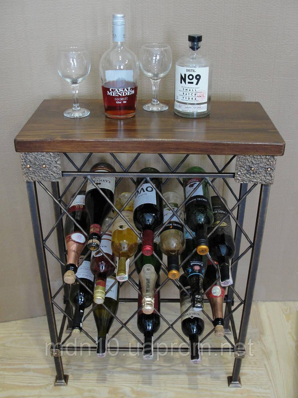 Стол-стелаж для вина кованый  - 105-2