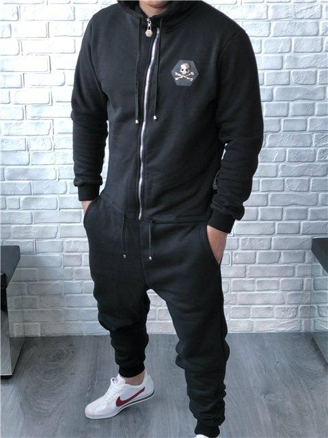 Мужской комбинезон Philipp Plein D5095 черный утепленный - Брендовая одежда от интернет-магазина «Trendy Shop» в Харькове