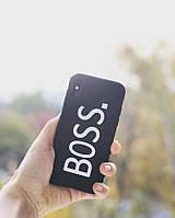 """Чехол черный матовый  """"BOSS"""" на iPhone 10"""