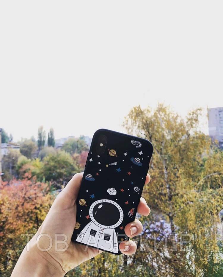 """Чехол матовый """"Космонавт"""" на iphone 10"""