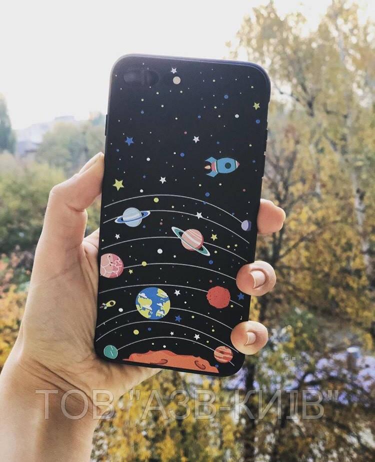"""Чехол матовый """"Космос"""" на iphone 7/8 Plus"""