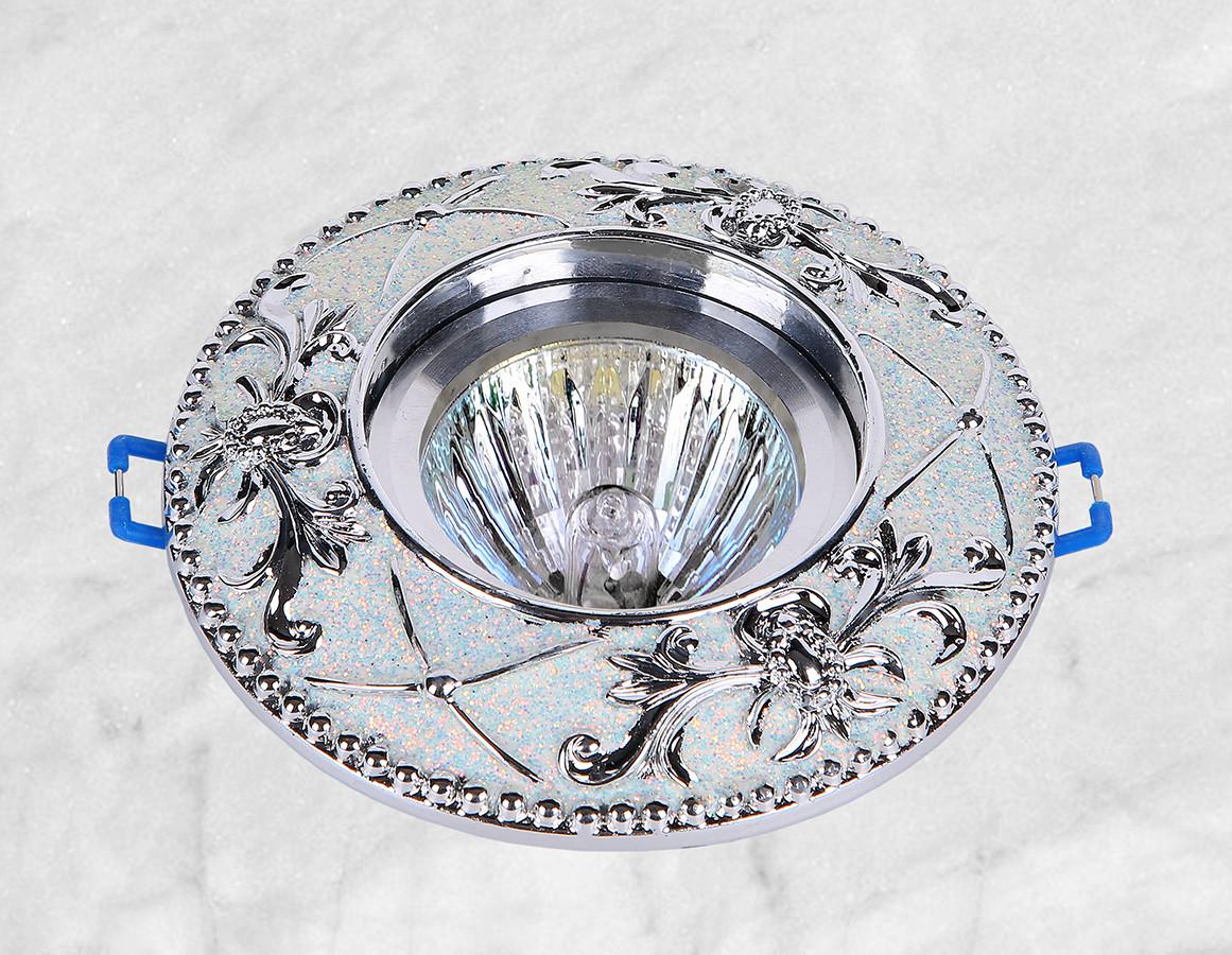 Точечный врезной светильник (47-1027 серебро)