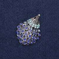 Брошь Ежик в стразах синие очень красивая и блестящая 3,8х2,5см металл темное серебро Mir-18176