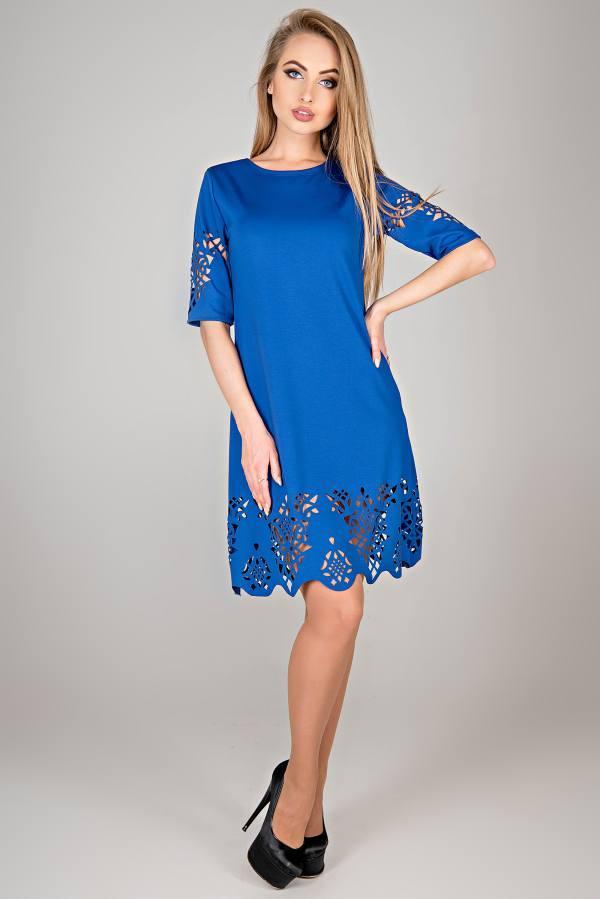 Молодежное платье Фисента электрик(44-52)