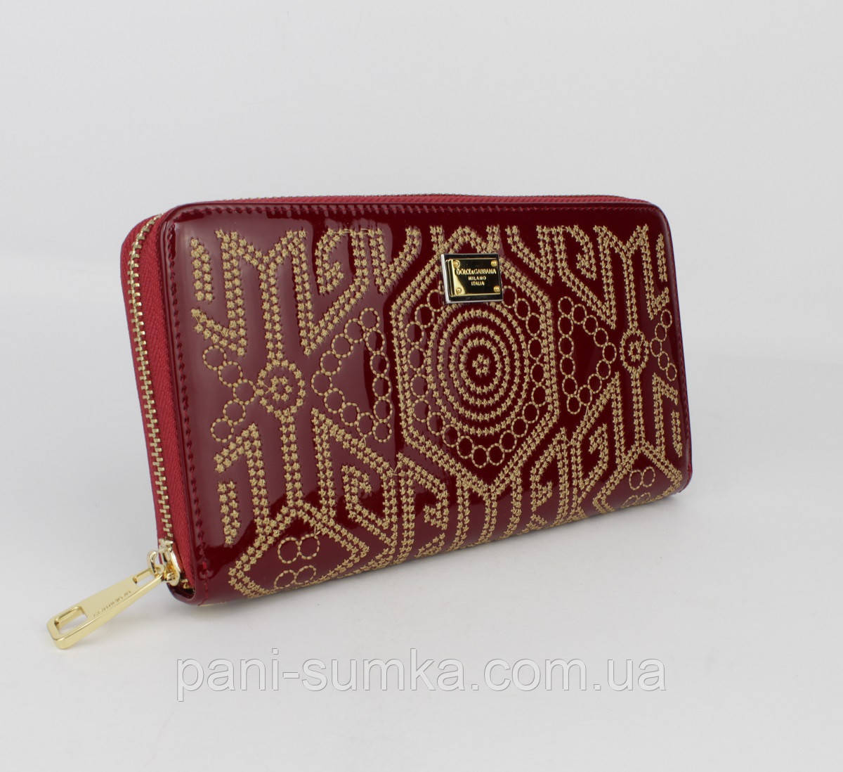 Кошелек лаковый с вышивкой Dolce&Gabbana (копия) 60103 красный, расцветки