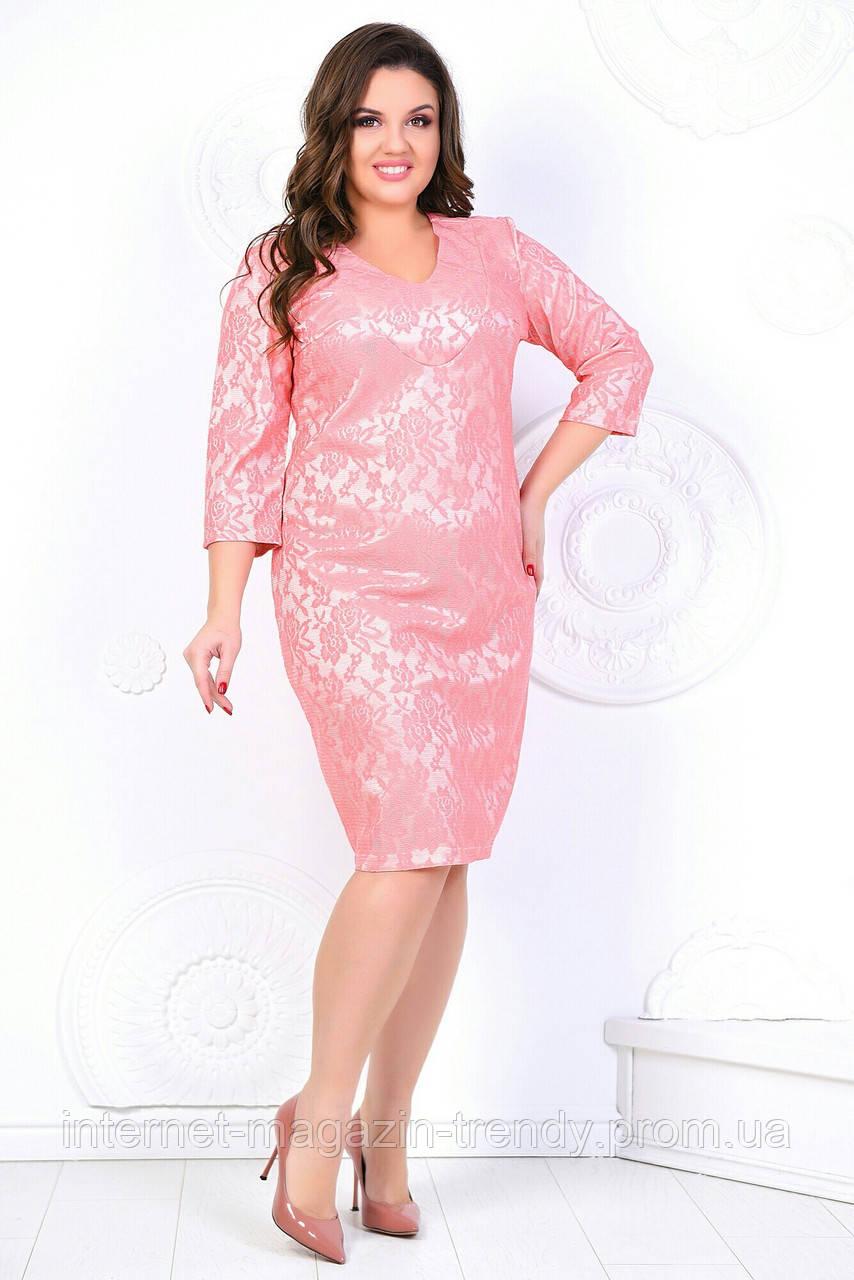 Платье гипюровое в батальных размерах (4 расцветки)Р5059811