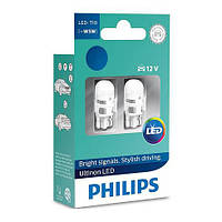 Автолампа LED Philips Ultinon T10 (W5W), 6000K, 12V (2 штуки)