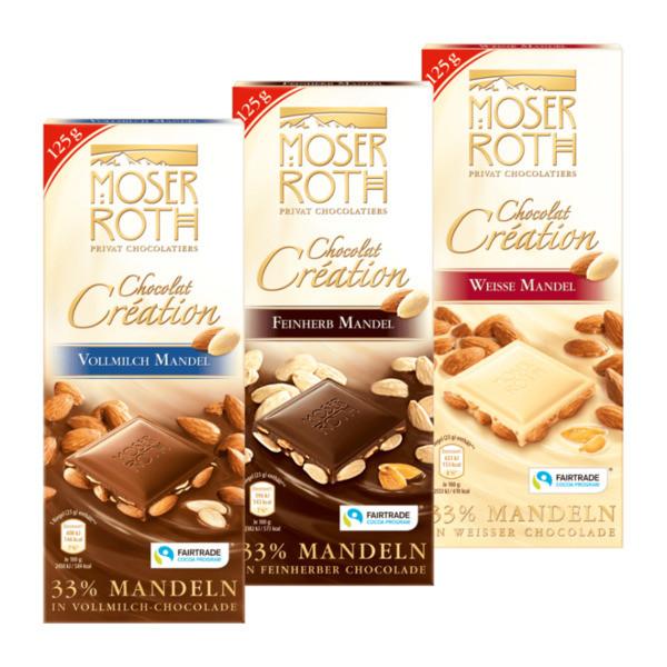 Шоколад Moser Roth с цельным миндалем 125гр
