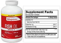 Walgreens, Рыбий жир, Омега-3, 1000 мг, 400 капсул
