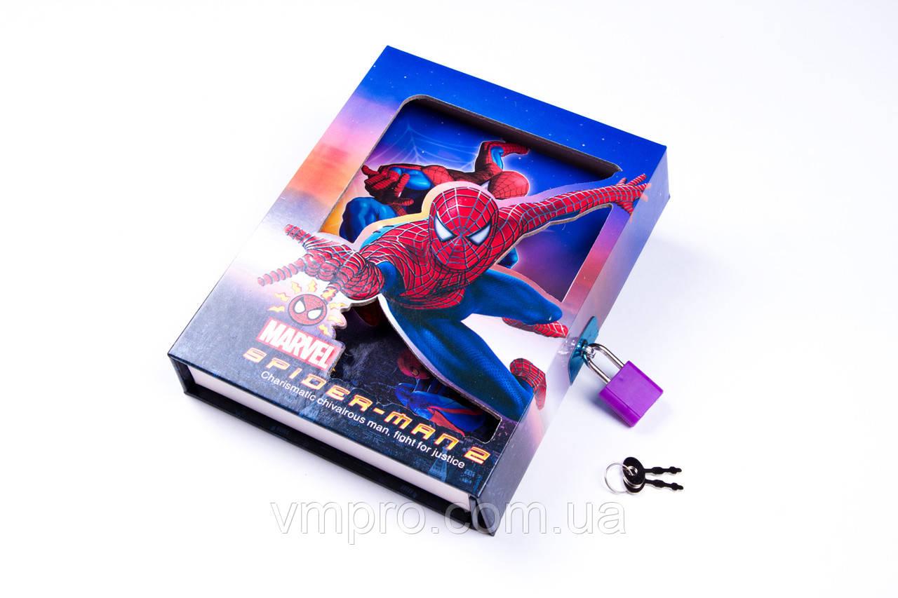"""Блокнот на замке в коробочке """"Человек-паук"""", №CH-64K-B0210, записная книжка"""