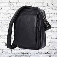 Мужская кожаная сумка City 0001 Чёрная, фото 1