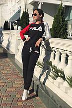 Женский спортивный костюм, двунить, р-р С; М; Л; ХЛ; ХХЛ (чёрный)