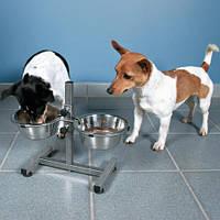 Миски на штативе хромированные (2х0.75л) для средних и мелких пород собак