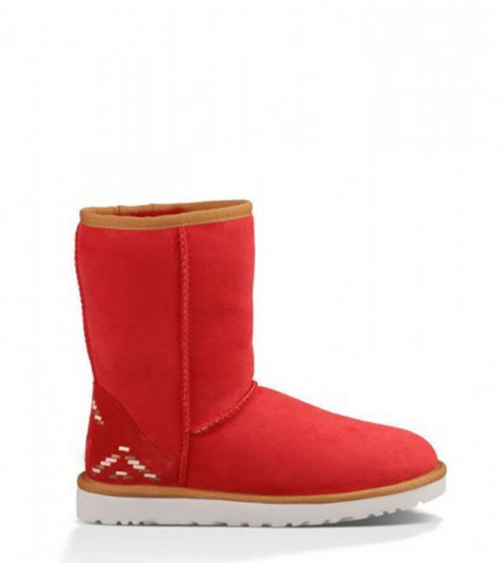 Оригинальные угги женские короткие UGG Classic Short Rustic Weave Red | Угги Австралия классик шорт зимние