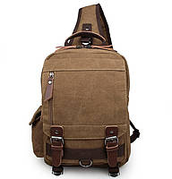 Рюкзак сумка через плечо Canvas 1001 брезент Коричневый, фото 1