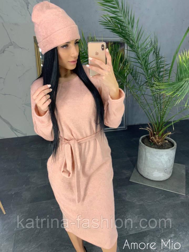 Женское ангоровое платье и шапка (4 цвета)