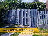 Ворота розпашні металеві для паркану з двостороннім зашивкою, фото 4