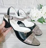 Женские босоножки на каблуке. натуральная кожа анаконда с блеском, фото 1