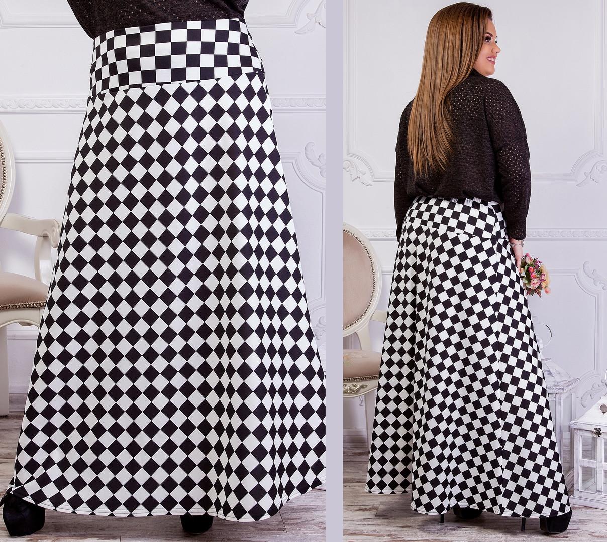 354f738e43f Трикотажная юбка в пол с принтом