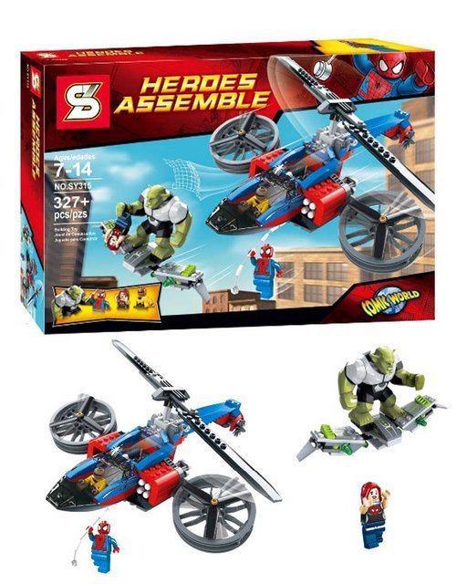 Конструктор Senco 315 Super Heroes Спасательный вертолёт Человека-паука 327 деталей