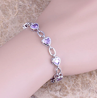 Женский серебряный браслет сердце с аметистом