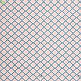 Декоративная ткань в крупную голубую клетку с бежевыми ромбиками помещенными внутрь нее Испания, фото 3
