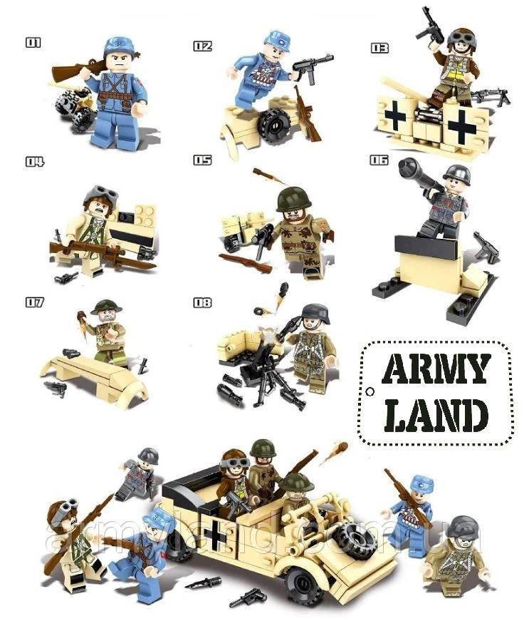 Военный конструктор, 8в1 + Volkswagen Typ 82, Аналог Лего, BrickArms