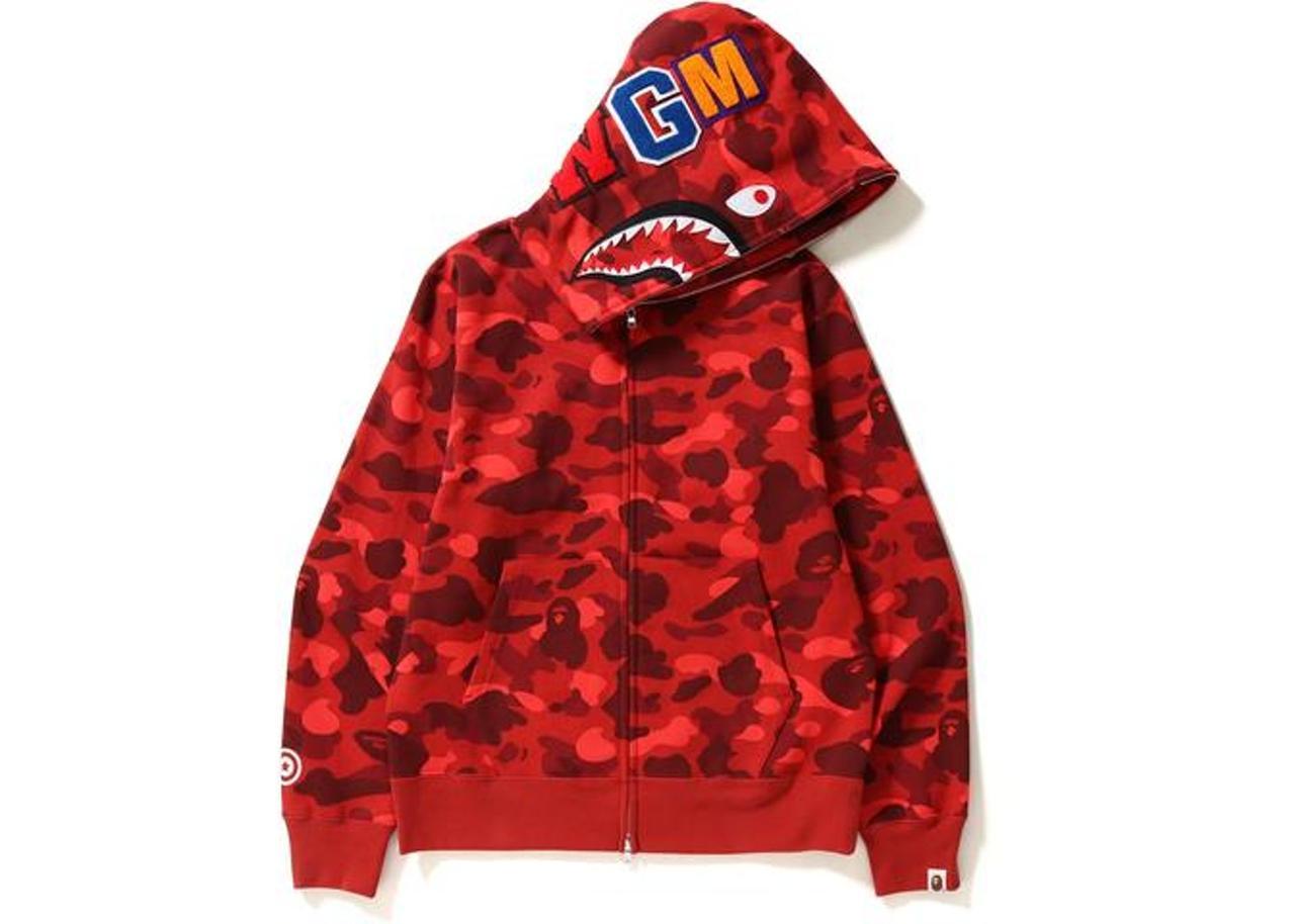 Худи Bape Color Camo Shark Full Zip Hoodie Red