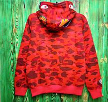 Худи Bape Color Camo Shark Full Zip Hoodie Red, фото 2