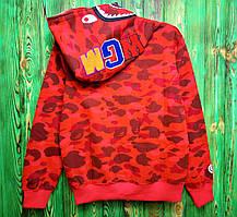 Худи Bape Color Camo Shark Full Zip Hoodie Red, фото 3