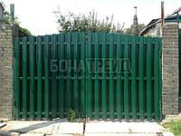 Ворота распашные металлические для штакетника с двусторонней зашивкой 2000, 4000
