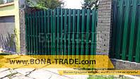 Ворота распашные металлические для штакетника с двусторонней зашивкой 2400, 4000