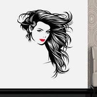 Интерьерная виниловая наклейка на стену Красотка (наклейки люди, девушка, волосы, губы, самоклеющаяся пленка)