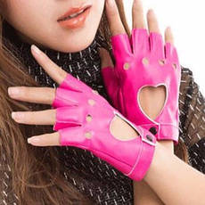 Кожаные перчатки с сердечками, фото 2