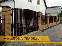 Ворота распашного типа для штакетника с односторонним заполнением секций 1500, 4000