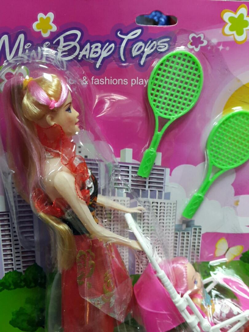Кукла барби с коляской куколкой  и ракетками