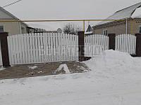 Ворота распашного типа для штакетника с односторонним заполнением секций 2400, 3000